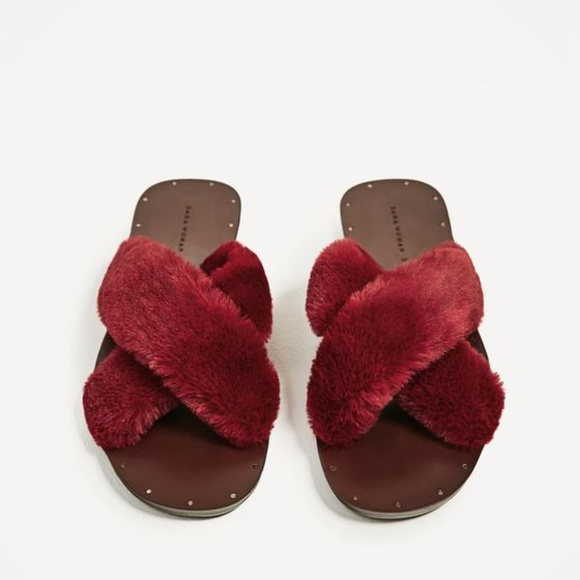 Zara Shoes   Zara Nwt Furry Criss Cross